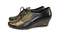 Женские туфли на танкетке кожаные, фото 1