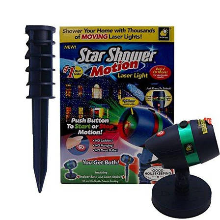 Гирлянда Star Shower Motion Laser Light Star Shower Motion Лазерный звездный проектор, фото 2