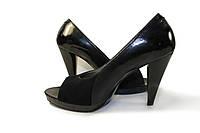 Туфли женские с открытым носком из лака, фото 1