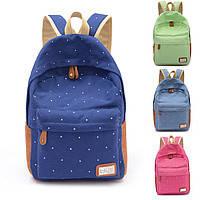 Рюкзак городской, школьный, молодежный в горошек.