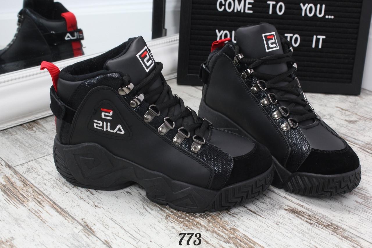 Ботинки зимние FILA черные. Аналог