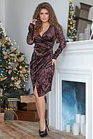 Шикарное велюровое женское платье МИЛА на запах шоколадного цвета. Арт-7515/7, фото 1