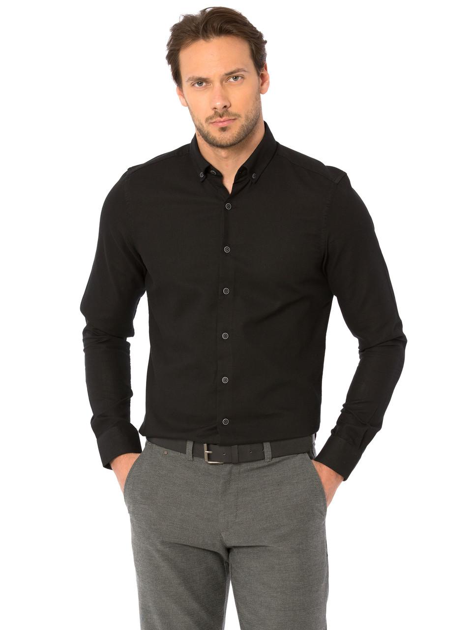9269bb6c770 Черная мужская рубашка Lc Waikiki   ЛС Вайкики с пуговицами на воротнике