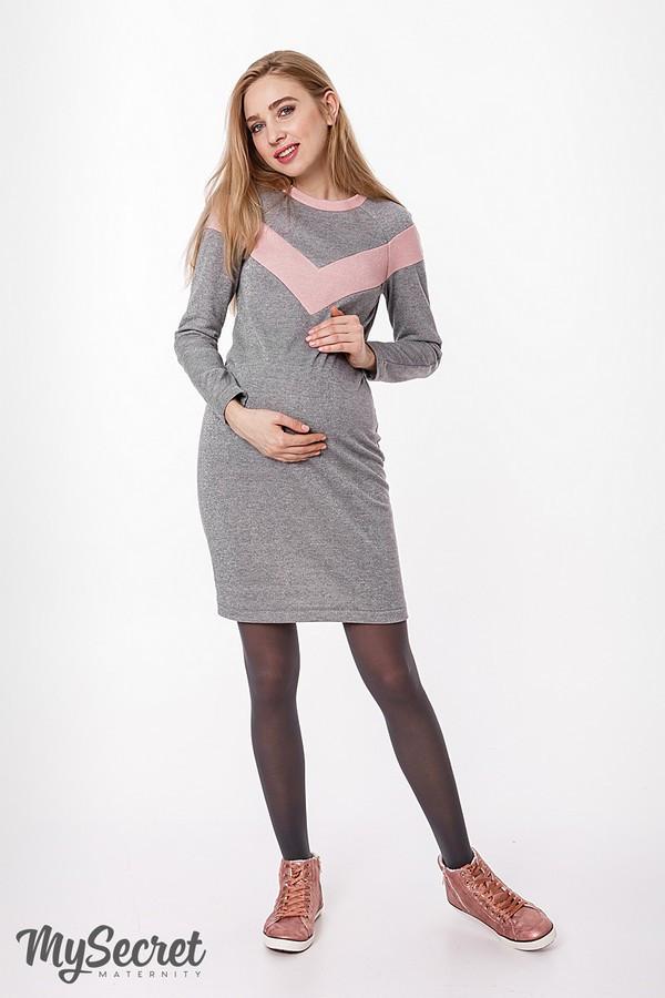 Теплое платье для беременных и кормящих BLANDO DR-48.271, серое с розовым