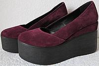 Casta! Стильные женские  туфли на платформе цвета марсала замш кожа танкетка обувь, фото 1
