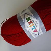 Пряжа нитки для вязания Lanagold Ланаголд 800 красный