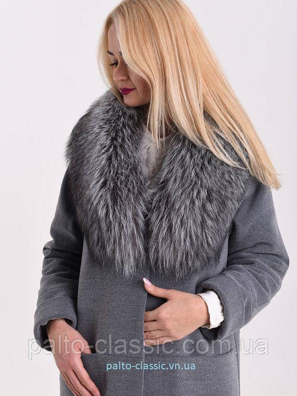 bc6c591255e Зимнее кашемировое пальто с шикарным натуральным мехом скандинавской  чернобурки - Пальто Классик и Serebro so Swarovski