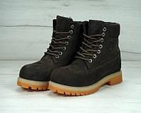 c88582f2 Зимние женские ботинки Timberland Brown (Тимберленд, коричневые), внутри  натуральный мех