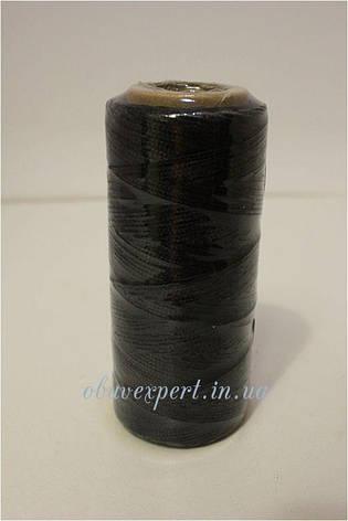 Нитка вощёная по коже (плоский шнур), т. 0,55 мм, 100 м, цв. черный, фото 2