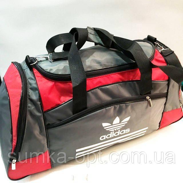 Дорожные спортивные сумки Adidas из плащевки (серый+красн)33*63см