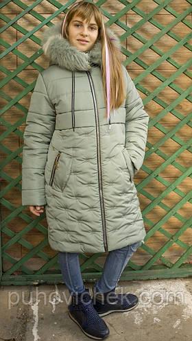 Детские зимние куртки и пальто для девочек с натуральным мехом