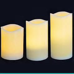 Набор свечей пласт. LED 3 шт. (7.5*10см, 7.5*12.5см, 7.5*15см), для улицы