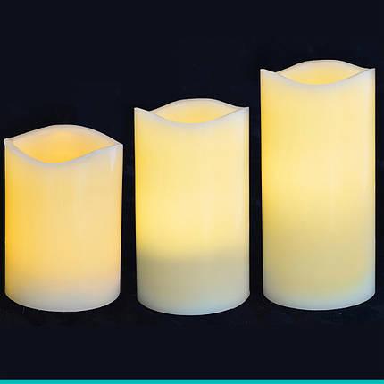 Набор свечей пласт. LED 3 шт. (7.5*10см, 7.5*12.5см, 7.5*15см), для улицы, фото 2
