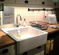 Кухонная накладная керамическая мойка IKEA Domsjo 391.581.79  (белый)