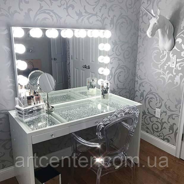 Визажный стол, белый гримерный стол с лампами и стеклянной столешницей