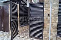 Распашные ворота с зашивкой жалюзи BonaFence 1500, 3000
