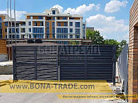 Распашные ворота с зашивкой жалюзи BonaFence 1300, 6000