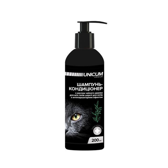 Шампунь-кондиционер UNICUM premium для котов с маслом чайного дерева, 200 мл