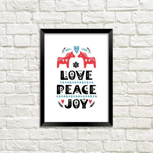 Постер в рамке Love Peace Joy А5 (MT5_19NG056_BL)