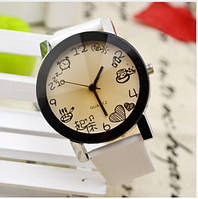 Необычные наручные часы - Еда белый ремешок