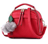 Сумка женская через плечо Stylish bag с помпоном Красный, фото 1