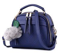 Сумка женская через плечо Stylish bag с помпоном Синий, фото 1