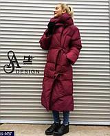 Женский Зимний Длинный Пуховик -Одеяло (Куртка) Черный, Белый, Марсала, Олива, Красный , фото 1