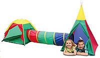 Детская игровая палатка вигвам с тоннелем Ecotoys 3  в 1