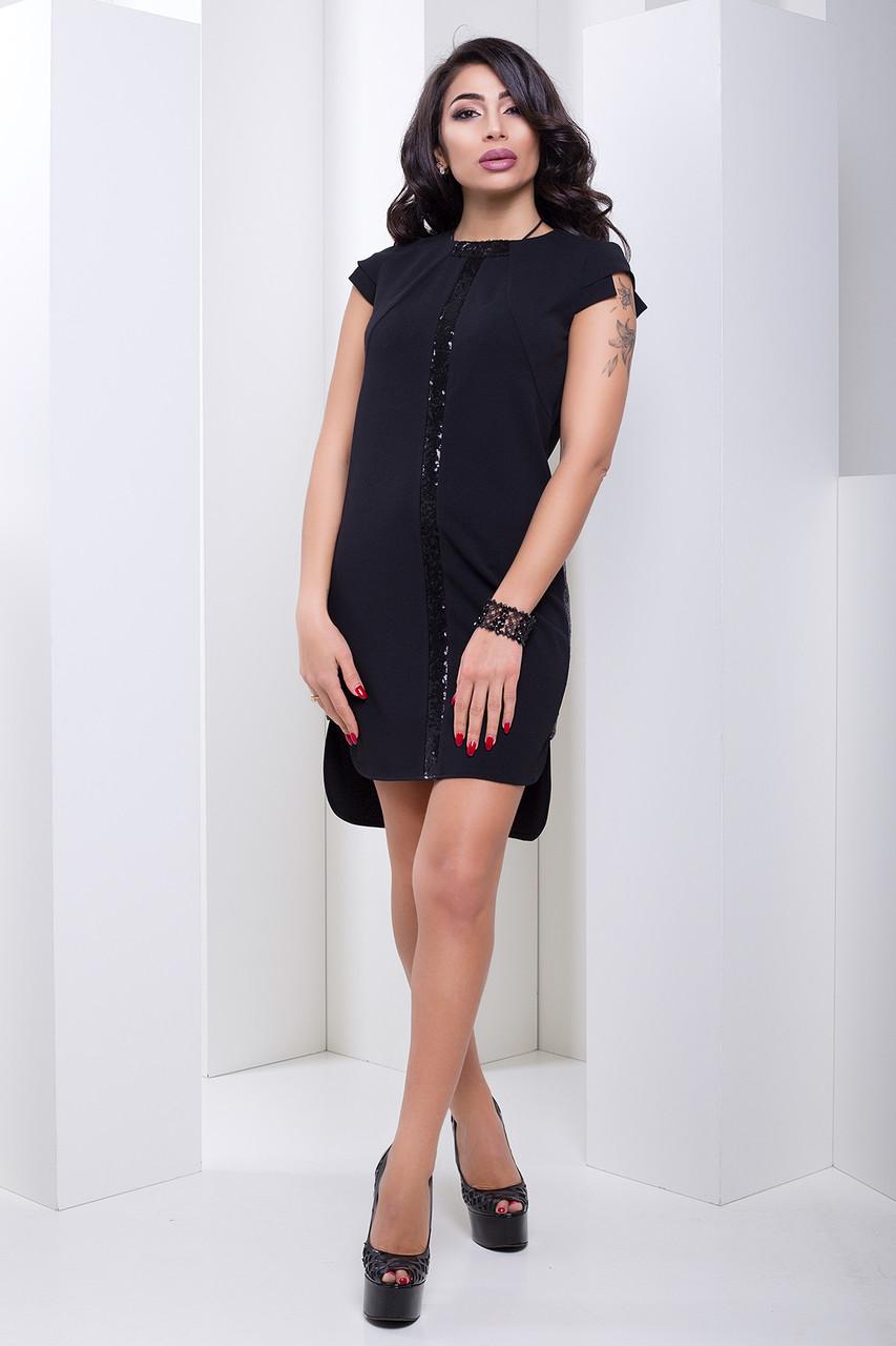 8ead9113c6cd712 Черное платье с пайетками асимметрия Teilor (42–50р) - Интернет–магазин «