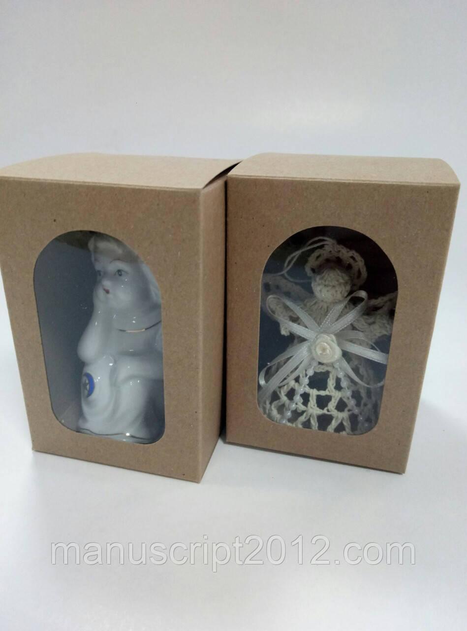 Коробка для подарков с окном крафт 70х70х100 мм., фото 1