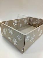 Подарочная новогодняя коробка со снежинками с пластиковой крышкой 350х210х100 мм., фото 1