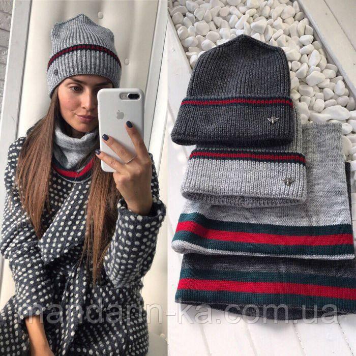 Комплект женский шапка шарф