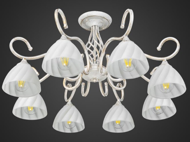 Люстра белая на 8 ламп AR-004523 в гостиную