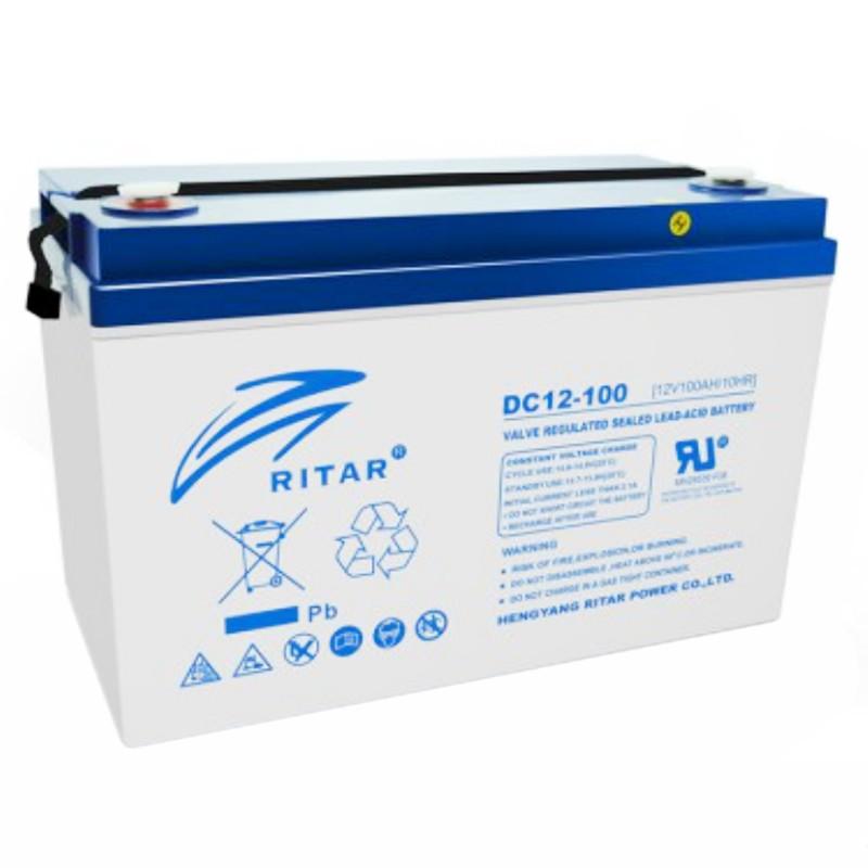 Аккумуляторная батарея AGM RITAR DC12-100, Gray Case, 12V 100Ah ( 328 x 172 x 215 (220), 30,0кг ) Q1