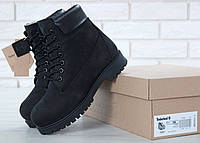 Женские ботинки Timberland 6 Inch Black Boots с натуральным мехом