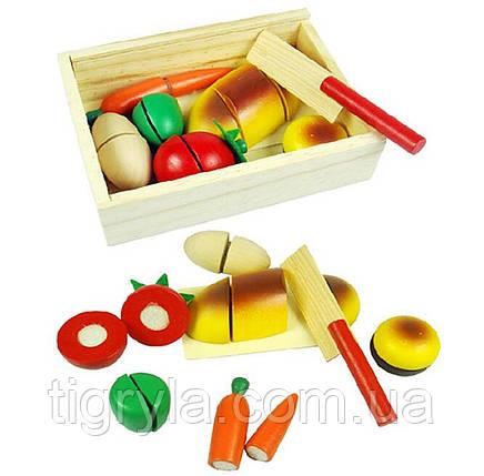 Деревянные продукты разрезные на липучках с ножом, деревянная игрушка овощи и фрукты нарезные кухня, фото 2