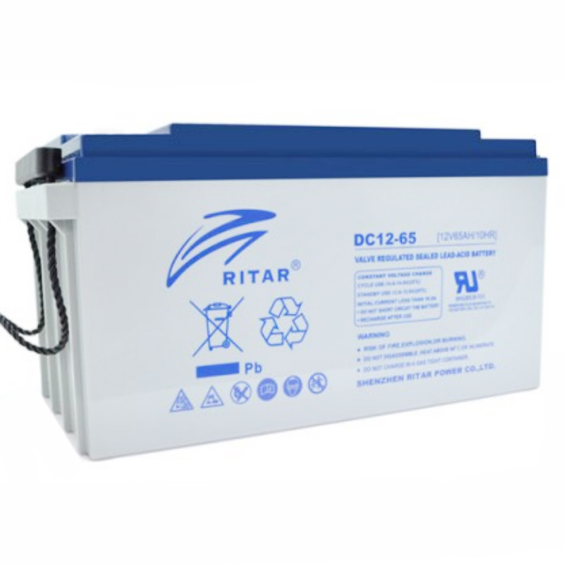 Аккумуляторная батарея AGM RITAR DC12-65, Gray Case, 12V 65Ah ( 350 х 167 х 182 ) Q1