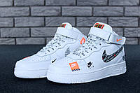 """Кроссовки Nike Air Force 1 Mid Just Do It """"White Pack"""" (Белые) (реплика А+++ )"""