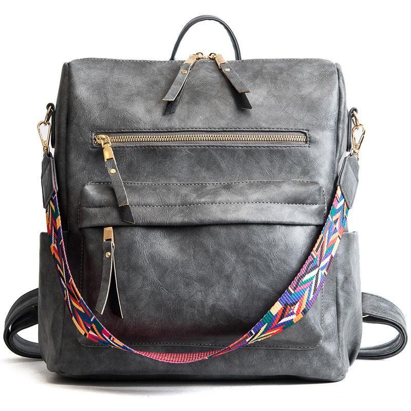 5e907f97f39f Рюкзак сумка женский городской с цветной ручкой (серый) - Интернет-магазин  «VINGO