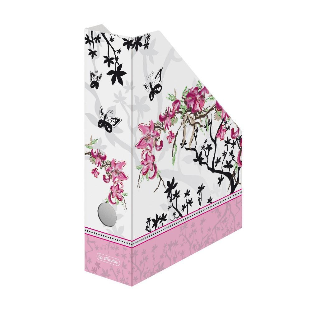 Лоток для бумаг вертикальный Herlitz 7см картон Ladylike Bloom (11225133)