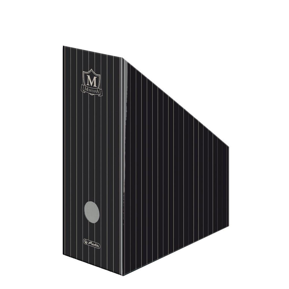 Лоток для бумаг вертикальный Herlitz 11.5см картон Montana Black (10085090)