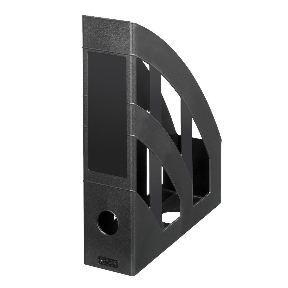 Лоток для бумаг вертикальный Herlitz 7.5см Classic Solid черный (65037)