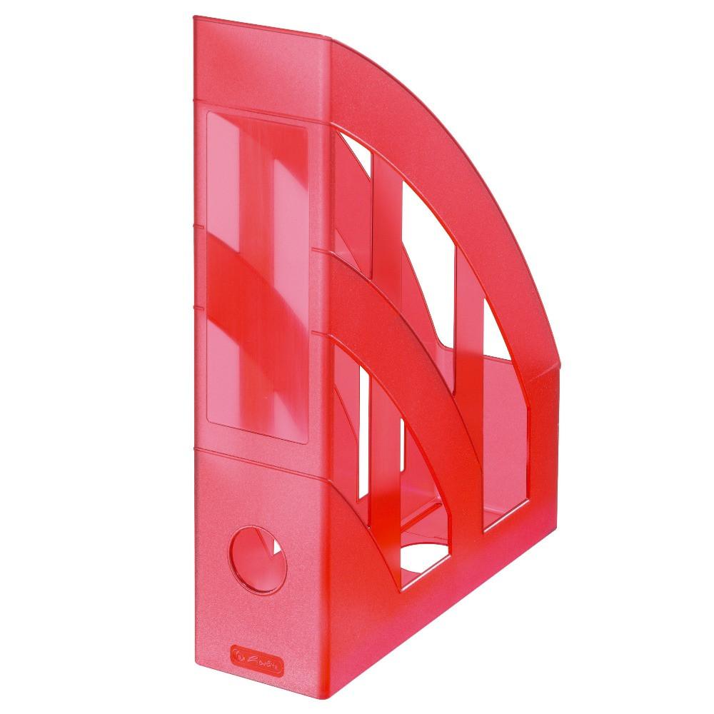 Лоток для бумаг вертикальный Herlitz 7.5см Classic Transparent красный полупрозрачный (10653822)