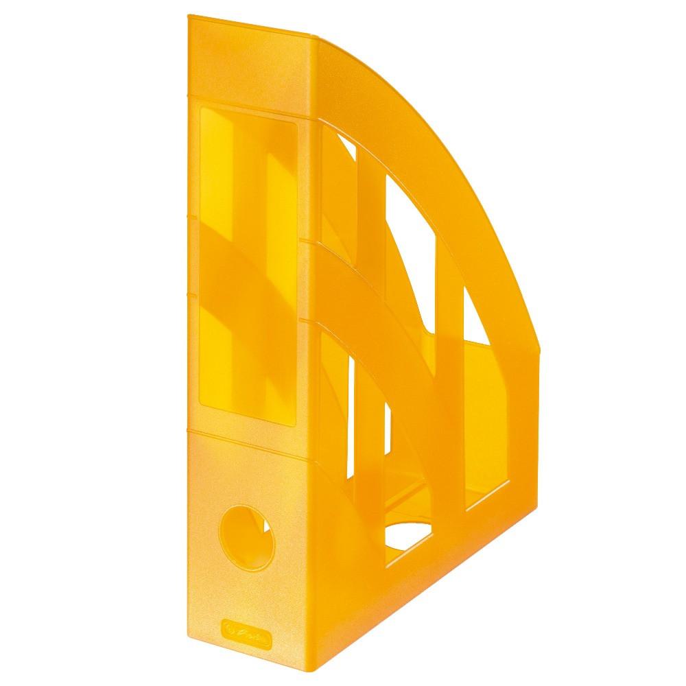 Лоток для бумаг вертикальный Herlitz 7.5см Classic Transparent оранжевый полупрозрачный  (10074151)