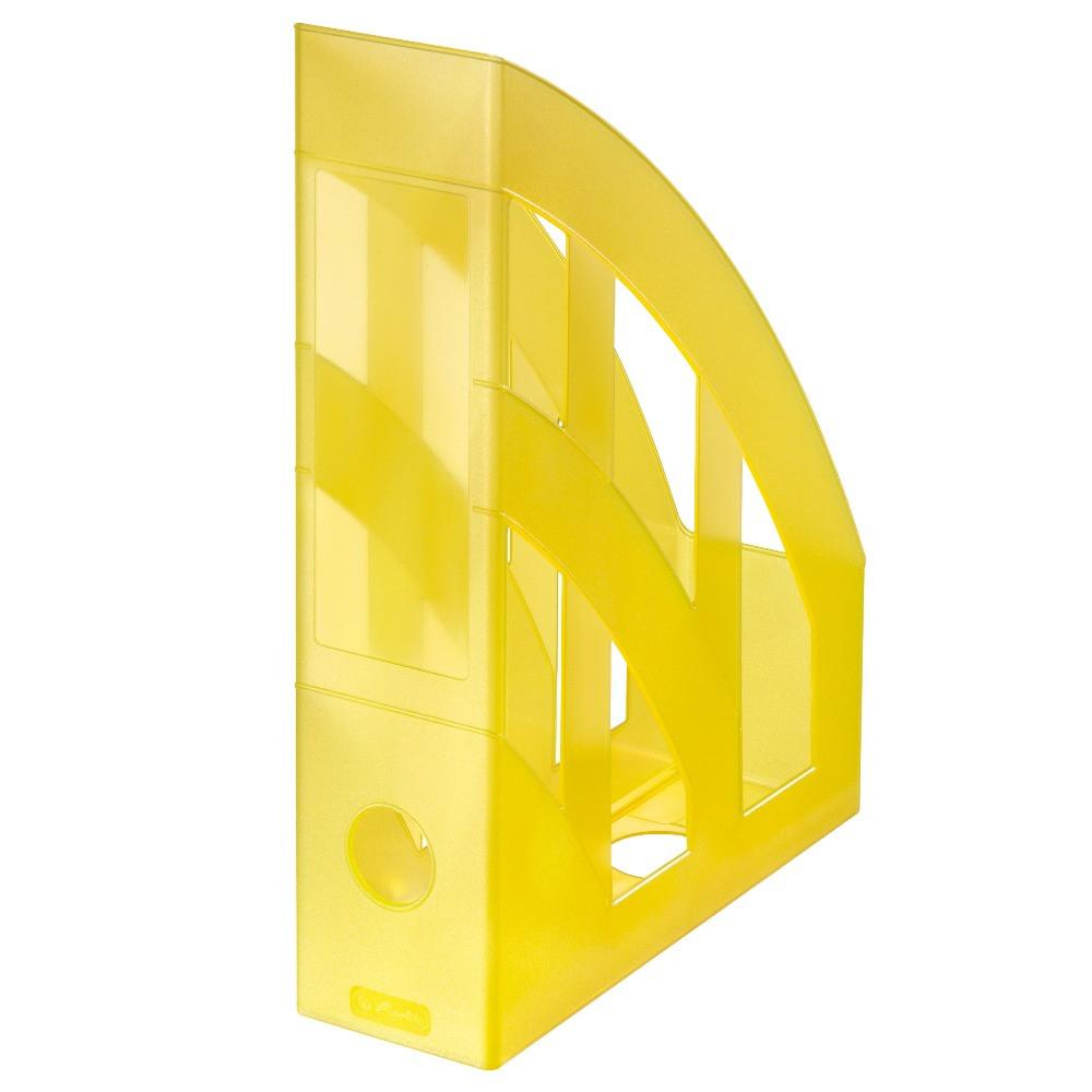 Лоток для бумаг вертикальный Herlitz 7.5см Classic Transparent желтый полупрозрачный  (10653780)
