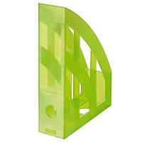 Лоток для бумаг вертикальный Herlitz 7.5см Classic Transparent салатовый полупрозрачный (10653749)
