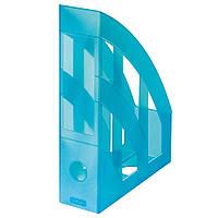 Лоток для бумаг вертикальный Herlitz 7.5см Classic Transparent голубой полупрозрачный (10074169)