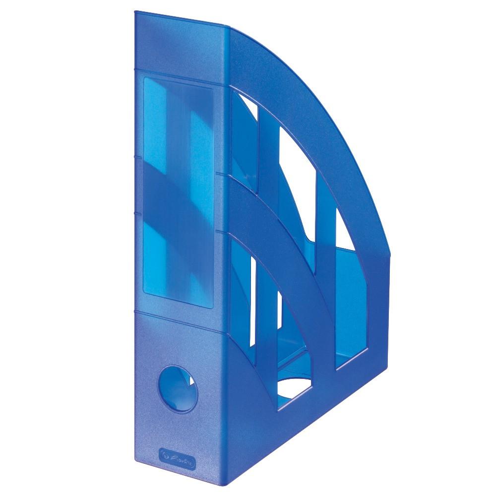 Лоток для бумаг вертикальный Herlitz 7.5см Classic Transparent синий полупрозрачный  (10095255)