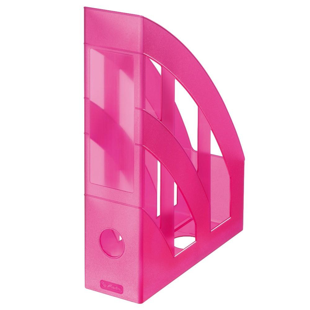 Лоток для бумаг вертикальный Herlitz 7.5см Classic Transparent малиновый полупрозрачный (10531556)