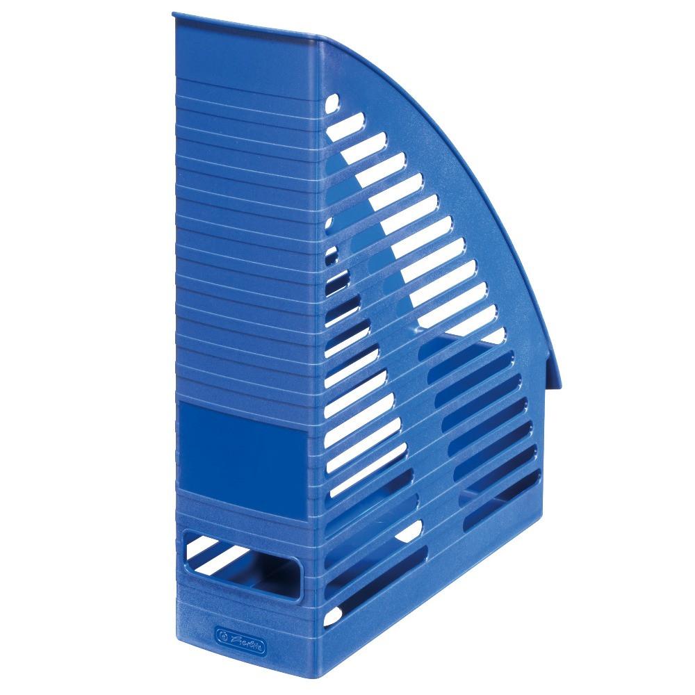 Лоток для бумаг вертикальный Herlitz 8см Round синий (1609551)